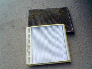 filtro antipolen sucio y limpio